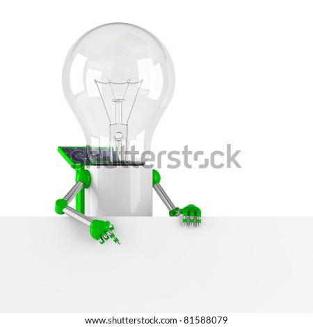 solar powered light bulb robot - blank banner - stock photo