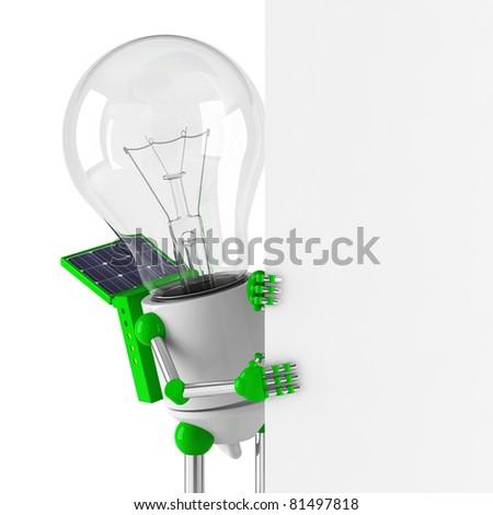 solar powered light bulb robot - blank billboard - stock photo