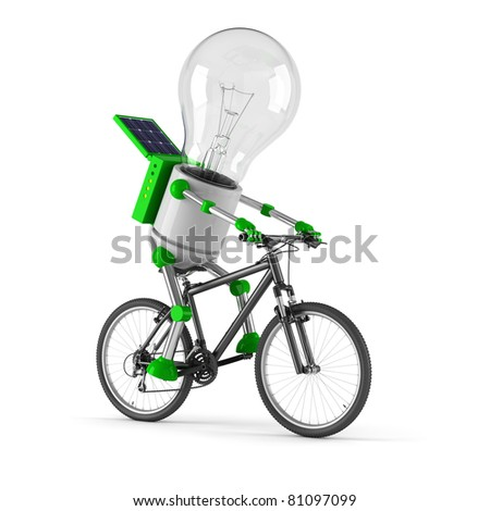 solar powered light bulb robot - cycling - stock photo