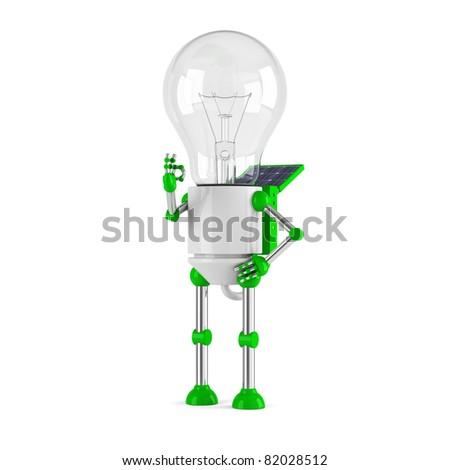 solar powered light bulb robot - ok - stock photo