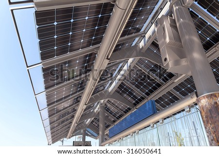 Solar Powered Public Transportation Train and Bus Station in the City of Portland Oregon - stock photo