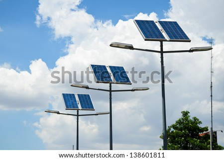 solar powered street light - stock photo