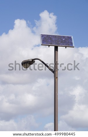 Solar powered street light pole, California