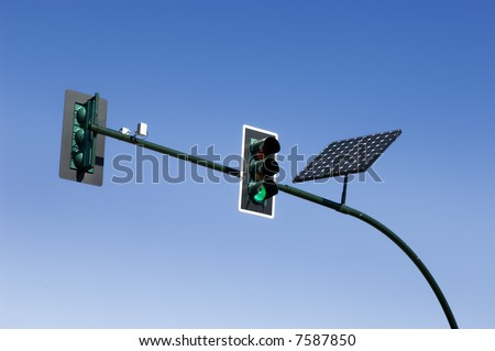 Solar powered traffic light - stock photo