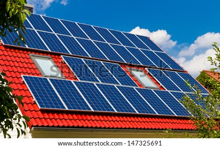 Solar roof in summer - stock photo