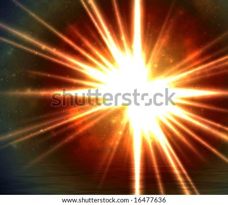 Solar scene background - stock photo