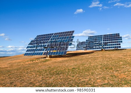 Solar Station in a Rural Scenery - stock photo