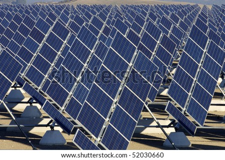 solar station in a sunny day - stock photo