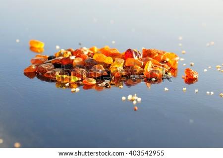 solar stone - amber - stock photo