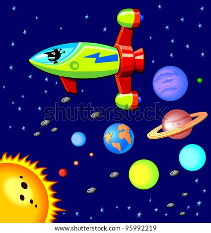 Solar System and Rocket ship - stock photo