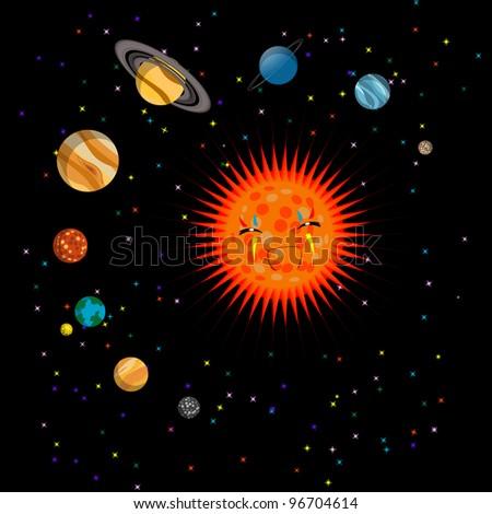 Solar system cute illustration, on black - stock photo