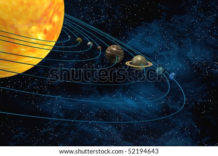 Solar system 3d illustration sun and planets on starfield background - stock photo