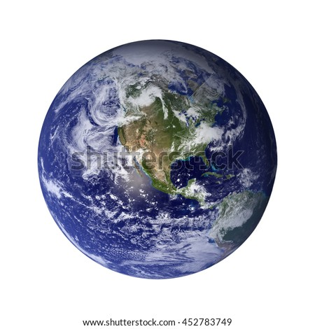 Solar System - Earth. Isolated planet on white background. Elements of this image furnished by NASA - stock photo