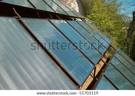 Solar system- green energy. A lot of panels in rows - stock photo