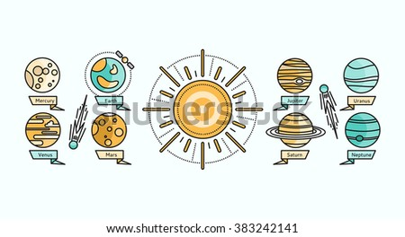 Solar system icon flat design. Earth planet space and sun, science astronomy, galaxy and saturn, jupiter and venus, mars and mercury, uranus and neptune . Solar system showing planets around sun - stock photo