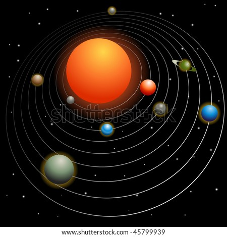 Solar system image isolated on a black background. - stock photo