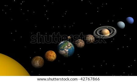Solar system in the night - stock photo