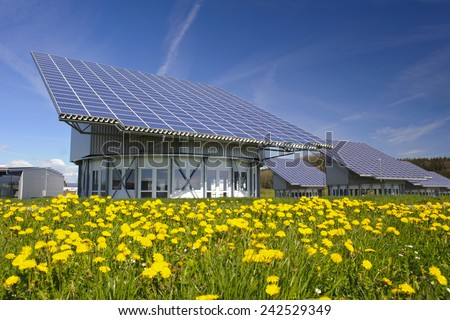 solar system on industrial roof in Germany - stock photo