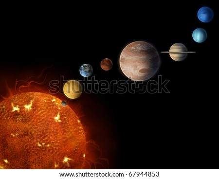 solar system planets illustration - stock photo