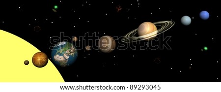 Solar system planets, nebulas and stars by night - stock photo