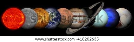 Solar system. Planets on black background. Sun, Mercury, Venus, Earth, Mars, Jupiter, Saturn, Uranus, Neptune, Pluto. Elements of this image furnished by NASA. - stock photo