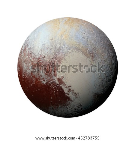 Solar System - Pluto. Isolated planet on white background. Elements of this image furnished by NASA - stock photo