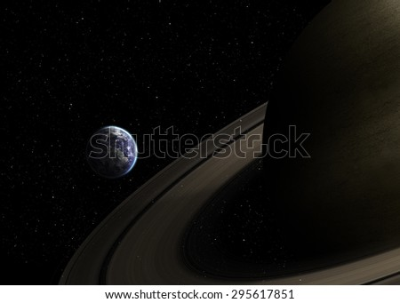 Solar system - Real scale of objects. Elements of this image furnished by Nasa - stock photo