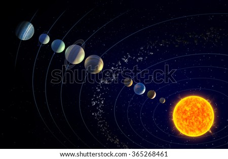 Solar system shown with the theorized ninth Planet X - stock photo