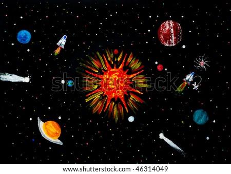 Solar system, spaceship, astronaut, planets, sun, comets - stock photo