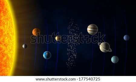 Solar system - Sun, the planets and the asteroid belt - stock photo