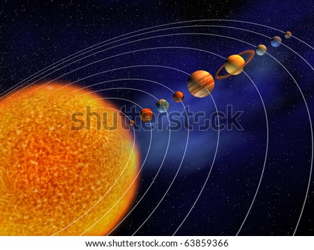Solar System - this is a 3d render illustration - stock photo