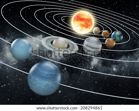 Solar system with eight planets. - stock photo