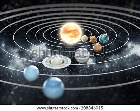 Solar system with eight planets. Elements of this image furnished by NASA. - stock photo