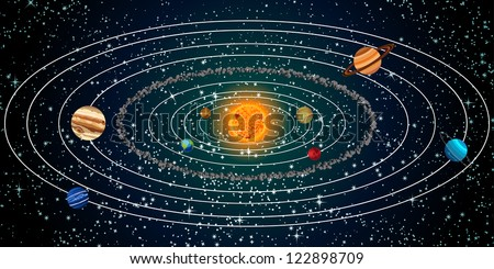 Solar system with sun, planets and stars. Colorful illustration. - stock photo