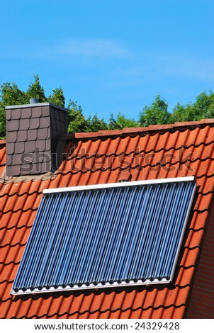 solar thermal system - stock photo