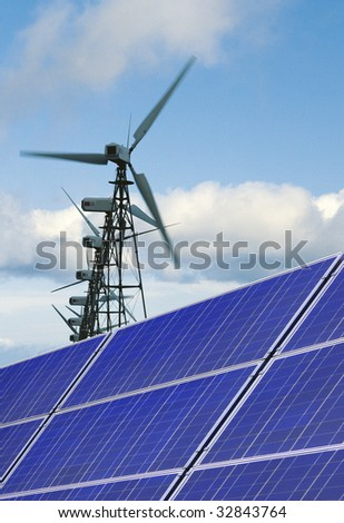 solarpanels with windpower - stock photo