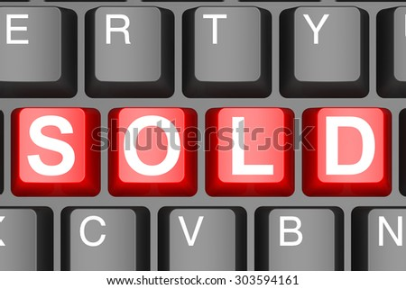 Sold button on modern computer keyboard image with hi-res rendered artwork that could be used for any graphic design.