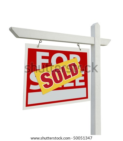 Sold For Sale Real Estate Sign Isolated on a White Background with Clipping Paths - Facing Left. - stock photo