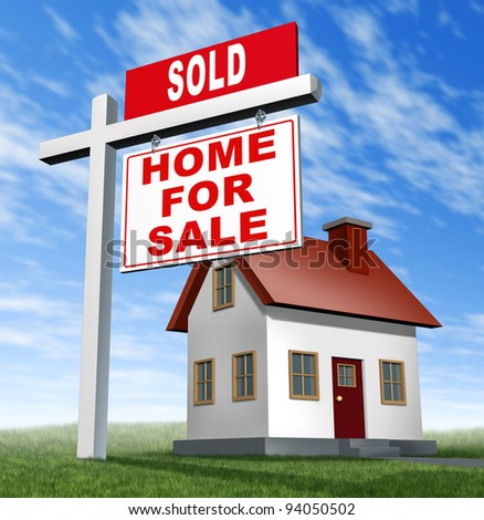 Sold home for sale sign and house as a real estate business financial concept of selling on low affordable mortgage home loans and buying your family dream home using an agent to negotiate the sale. - stock photo