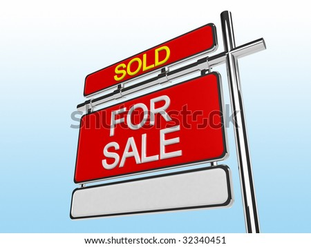 Sold Home For Sale Sign (3d render)