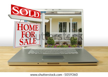 Sold Home for Sale Sign, New Home on Laptop. See my theme variations. - stock photo