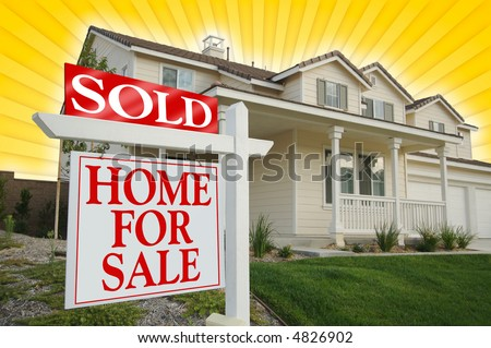 Sold Home For Sale sign, Yellow Star-burst Background. See my theme variations. - stock photo