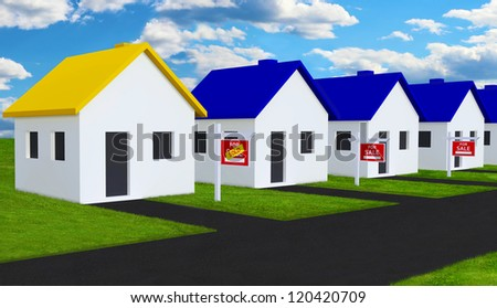 Sold House in Row of Houses For Sale - stock photo