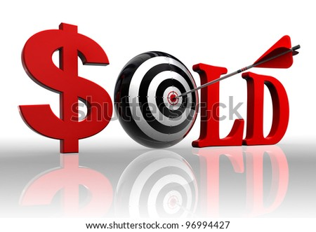 sold red word and concept target with arrow on white background clipping path included
