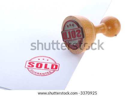 SOLD rubber ink stamp - stock photo