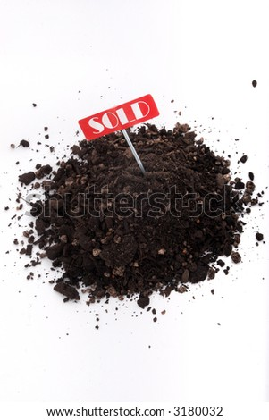 Sold sign and soil isolated on white background - stock photo