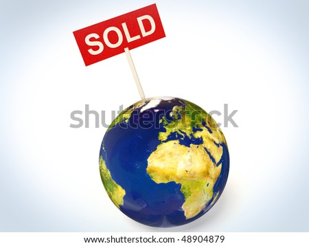 sold sign in earth isolated background - stock photo