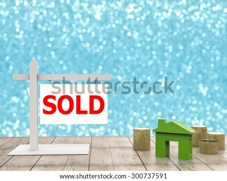 sold sign with mock up house - stock photo