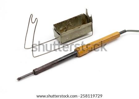 soldering-iron on the white background - stock photo