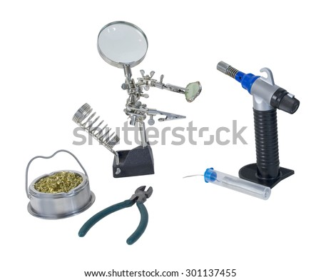 Soldering tools including torch used to solder metal together - path included - stock photo